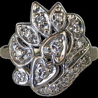 Art Nouveau White 14k White Gold Diamond Ring