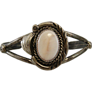 Sterling Silver and Mother of Pearl Vintage Cuff Bracelet