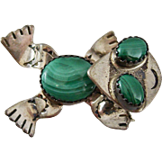 Sterling Silver and Malachite Signed Turtle Pin