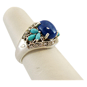 Sterling Silver with Diamonds, Turquoise and Lapis Ring