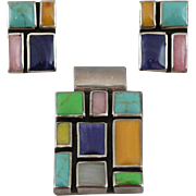 Sterling Silver, Turquoise and Multi-Colored Stone Earring and Slide Set