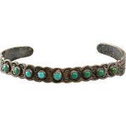 Sterling Silver and Turquoise Signed Vintage Cuff Bracelet