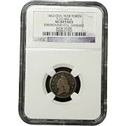 NGC Certified Civil War Token Copper Cent 1863 New York F-22/442 a
