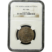 NGC Certified 1781 North American Token Cent Coin