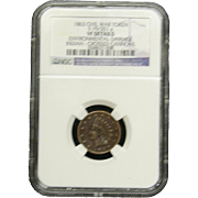 NGC Certified Civil War Token Copper Cent (1863) F-79/351 a