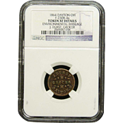 NGC Certified Grocer Copper Coin Token (1864) F-230B-4 a