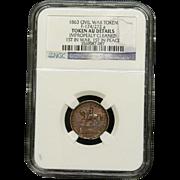 NGC Certified Civil War Token Copper Cent (1863) F-174/272 a