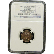 NGC Certified Civil War Token Copper Cent (1863) F-45/332 a