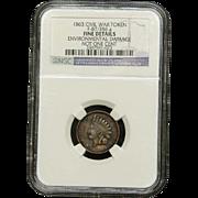 NGC Certified Civil War Token Copper Cent (1863) F-87/356 a