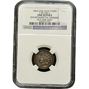 NGC Certified Civil War Token Copper Cent (1863) F-87/356 a