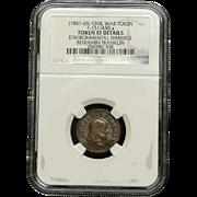 NGC Certified Civil War Token Benjamin Franklin Copper Cent (1861-65) F-151/430 a