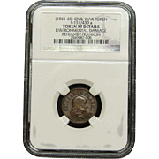 NGC Certified Civil War Token Benjamin Franklin Copper Cent (1861-65) F-151/430 a