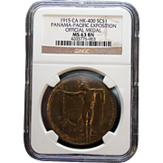 NGC Certified Panama-Pacific Exposition Official Medal (1915) HK-400