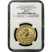 NGC Certified Official Medal US Sesquicentennial Expo (1926) HK-453
