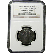 NGC Certified Copper Canada Token Coin (1816) UC-6A2