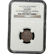 NGC Certified Civil War Token Copper Cent (1863) F-107/432 a