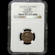 NGC Certified Civil War Token Copper Cent (1863) F-119/398 a