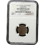 NGC Certified Civil War Token Copper Cent (1861-65) F-202/434 a