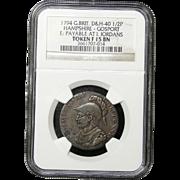 NGC Certified British Half Penny Coin Token (1794)