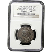 NGC Certified British Half Penny Coin Token (1794)