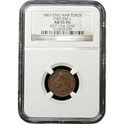 NGC Certified Civil War Token Copper Cent (1863) F-87-356 a