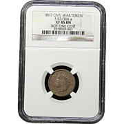 NGC Certified Civil War Token Copper Cent (1863) F-63/366 a