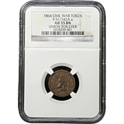 NGC Certified Civil War Token Copper Cent (1864) F-51/342 A a
