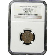 NGC Certified Civil War Token Copper Cent (1864) F-1/229 a