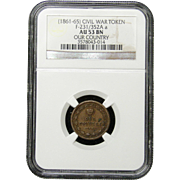 NGC Certified Civil War Token Copper Cent (1863-65) F-231/352A a
