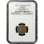 NGC Certified Yankee Robinson Copper Cent Token (1861-65) F-165EZ-1 a