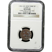 NGC Certified Copper Fine Ale Draw Coin Token (1861-65) New York, NY F-630P-1 a