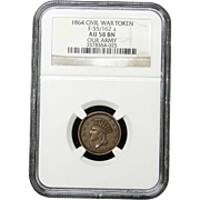 NGC Certified Civil War Token Copper Cent (1864) F-55/162 a