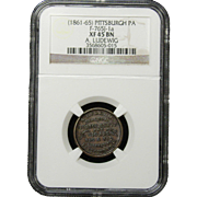 NGC Certified Copper Cent Coin Token (1861-65) F-765J-1 a