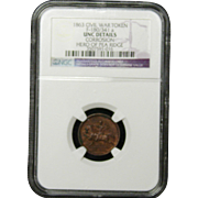 NGC Certified Civil War Token Copper Cent (1863) F-180/341 a