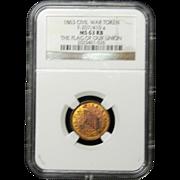 NGC Certified Civil War Token Copper Cent (1863) F-207/410 a