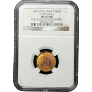 NGC Certified Civil War Token Copper Cent (1863) F-207/410 a