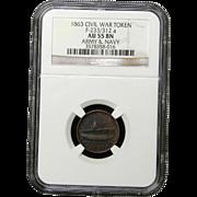 NGC Certified Civil War Token Copper Cent (1863) F-233/312 a