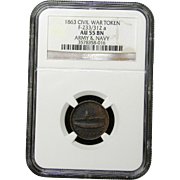 NGC Certified Civil War Token Copper Cent (1863) F-233/312 a