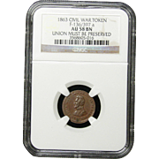 NGC Certified Civil War Token Copper Cent (1863) F-136/397 a