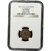 NGC Certified Civil War Token Copper Cent (1863) F-110/442 a
