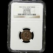 NGC Certified Civil War Token Copper Cent (1863) F-110/442 a