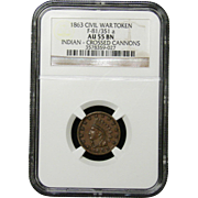 NGC Certified Civil War Token Copper Cent (1863) F-81/351 a