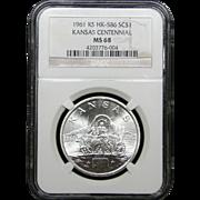 NGC Certified Silver Kansas Centennial Coin (1961) HK-586 SC$1