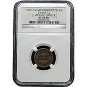 NGC Certified Grocer Copper Coin Token Mt. Washington PA (1861-65) F-650A-1 a