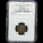 NGC Certified Civil War Token Copper Cent (1863) F-208/410 a