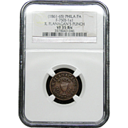 NGC Certified Copper Coin Token R. Flanagan's Punch (1861-65) F-750J-1a1