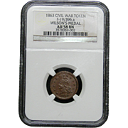 NGC Certified Civil War Token Copper Cent (1863) F-19/396 a