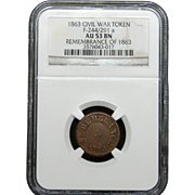 NGC Certified Civil War Token Copper Cent (1863) F-244/291 a