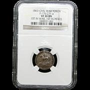 NGC Certified Civil War Token Copper Cent (1863) F-176/271 a