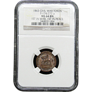 NGC Certified Civil War Token Copper Cent (1863) F-174/272 a